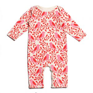 Baby Strampler - Birds and Berries Red Pink